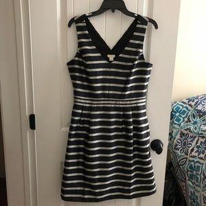 J.Crew Jacquard Striped Black and Silver Dress